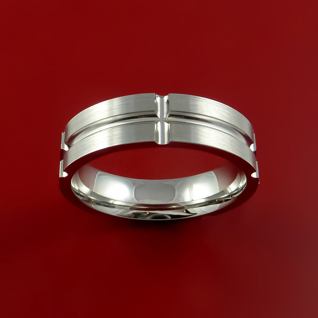 Cobalt Chrome Unique Channel Ring Bright Comfortable Band Made to Any Sizing and Finish - Stonebrook Jewelry  - 3