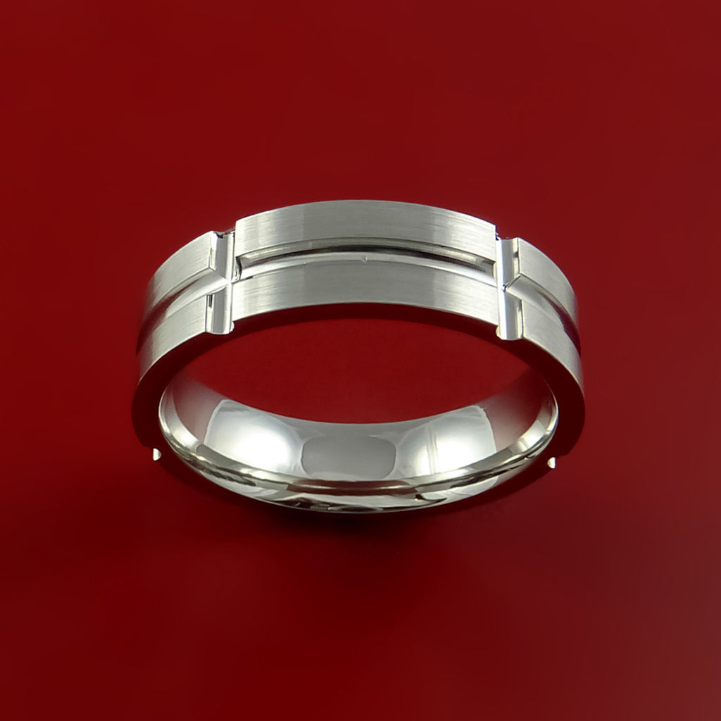 Cobalt Chrome Unique Channel Ring Bright Comfortable Band Made to Any Sizing and Finish - Stonebrook Jewelry  - 4