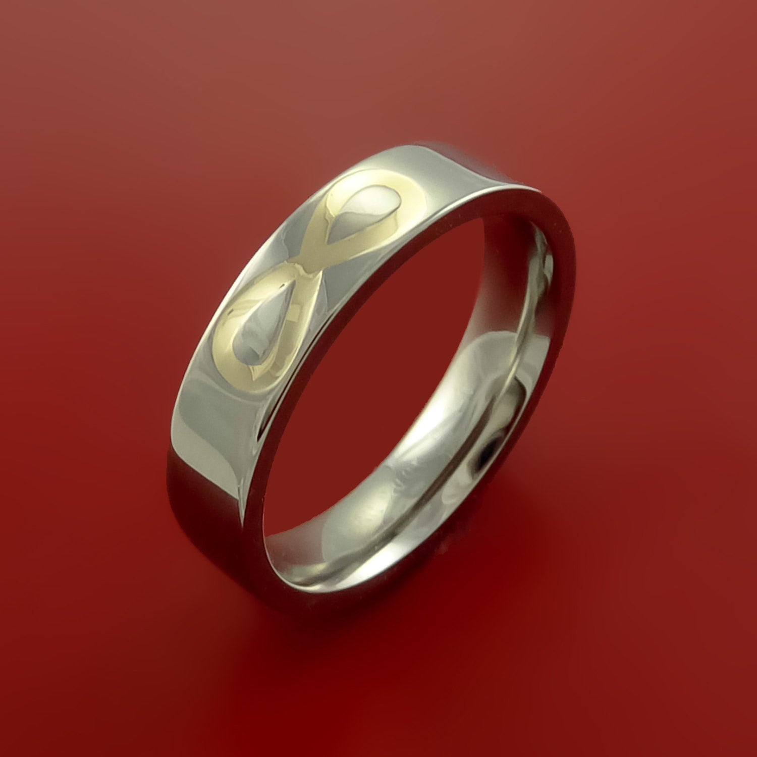 Yellow Gold Infinity Symbol And Titanium Ring Wedding Band Made To