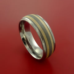 Titanium and 14K Yellow Gold Ring Custom Made Band Any Finish and Sizing 3 to 22 by Stonebrook Jewelry