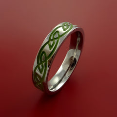 Titanium Celtic Knot Band Design Any Size Ring Color Inlay Blue, Red, Green - Stonebrook Jewelry  - 2