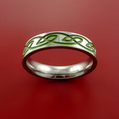 Titanium Celtic Knot Band Design Any Size Ring Color Inlay Blue, Red, Green - Stonebrook Jewelry  - 3