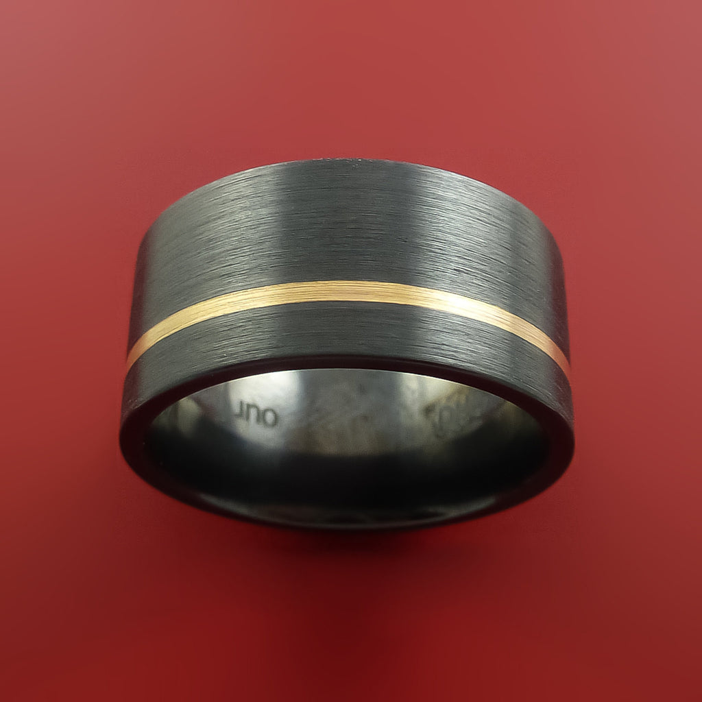 Black Zirconium and 14K Yellow Gold Wide Ring Custom made Band Any Finish and Sizing by Stonebrook Jewelry