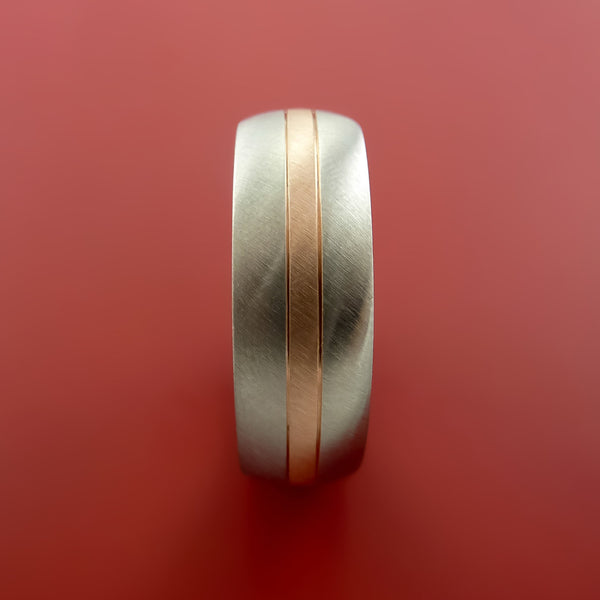 Cobalt Chrome Ring With 14k Rose Gold And Groove Inlays