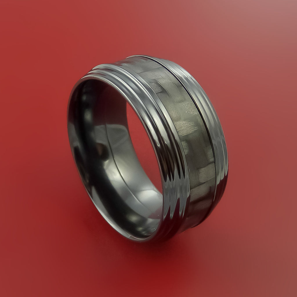 Black Zirconium Ring with Carbon Fiber Inlay Style Weave Pattern by Stonebrook Jewelry