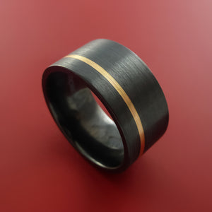 Wide Black Zirconium Ring with 14k Yellow Gold Inlay Custom Made Band