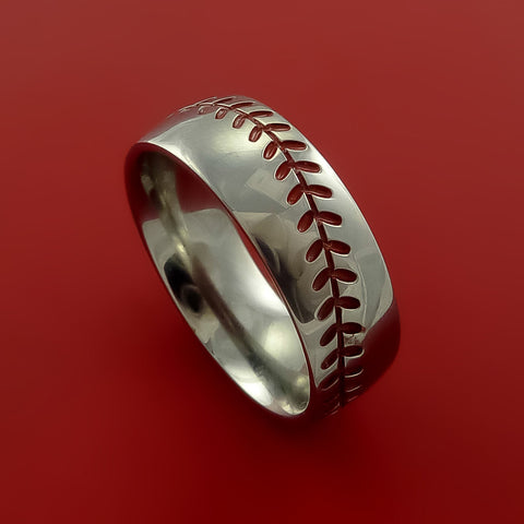Titanium Baseball Ring with Red Stitching Fan Band Any Size and Color Red, Green, Blue Inlay