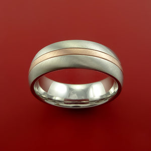 Cobalt Chrome Ring with 14k Rose Gold and Groove Inlays Custom Made Band