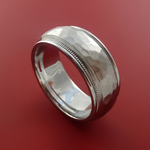 Cobalt Chrome Millgrain Hammer Finish Band Custom Ring Made to Any Sizing and Finish