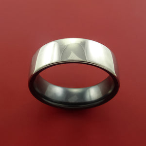 Black Zirconium Two Tone Ring Traditional Style Band Made to Any Sizing and Finish