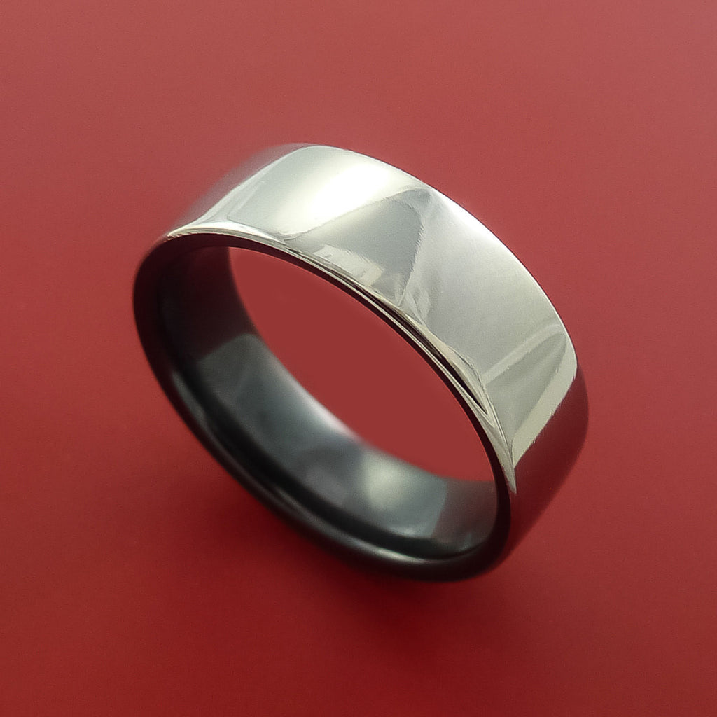 Black Zirconium Two Tone Ring Traditional Style Band Made to Any Sizing and Finish by Stonebrook Jewelry