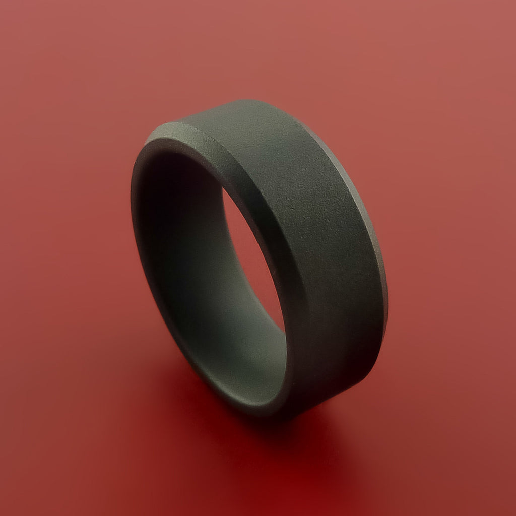 Black Zirconium Ring Traditional Style Band Made to Any Sizing and Finish