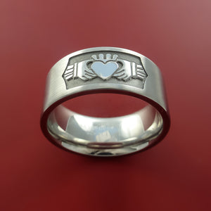 Cobalt Chrome Celtic Irish Claddagh Ring Hands Clasping a Heart Band Carved