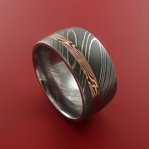 Wide Damascus Steel Ring with 14k Rose Gold Mokume Shakudo Inlay Custom Made Band