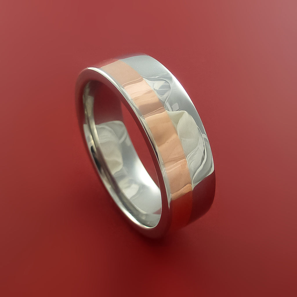 Cobalt Chrome And Copper Wedding Band Engagement Ring Made