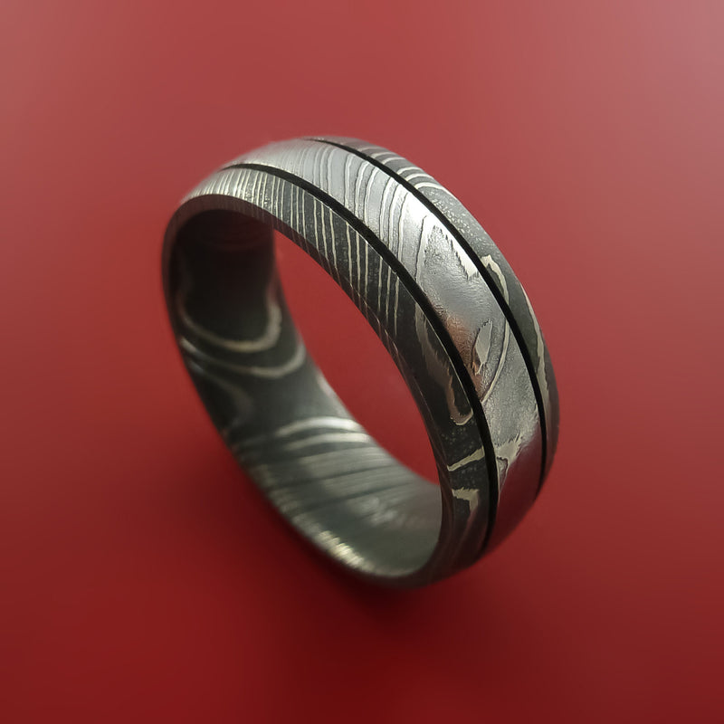 Damascus Steel Ring with Groove Inlay Custom Made Band