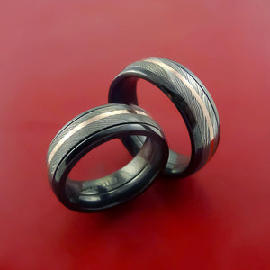 Black Zirconium and Damascus Steel Matching Ring Set 14K Rose Gold Bands Custom Made