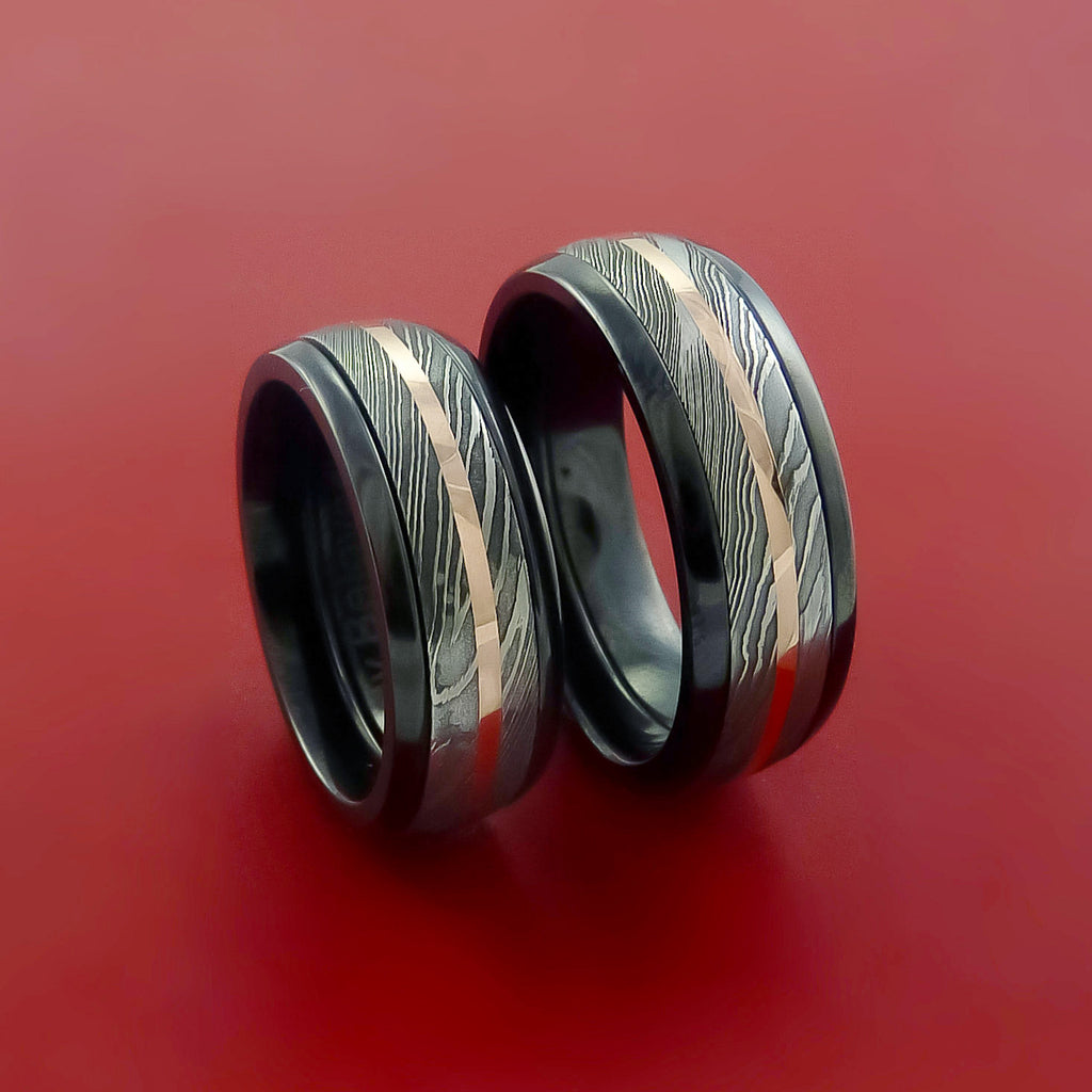 Black Zirconium and Damascus Steel Matching RIng Set 14K Rose Gold Bands Custom Made by Stonebrook Jewelry