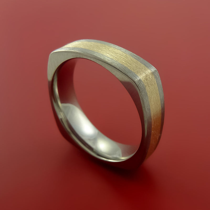 14K Yellow Gold and Titanium Ring Square Band any Sizing from 3-22