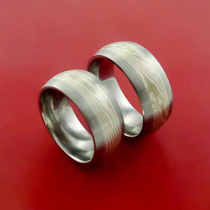 Titanium, and Mokume Ring Set Custom Made to Any Size and Finish