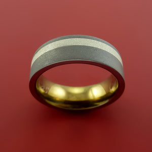 Titanium Ring with Sterling Silver Inlay and Interior Anodized Sleeve Custom Made Band
