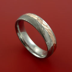 Damascus Steel 14K Rose Gold Ring Wedding Band Custom Made Hammer Finish by Stonebrook Jewelry