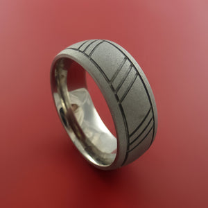 Titanium Ring with Groove and Diagonal Cross Groove Inlays Custom Made Band