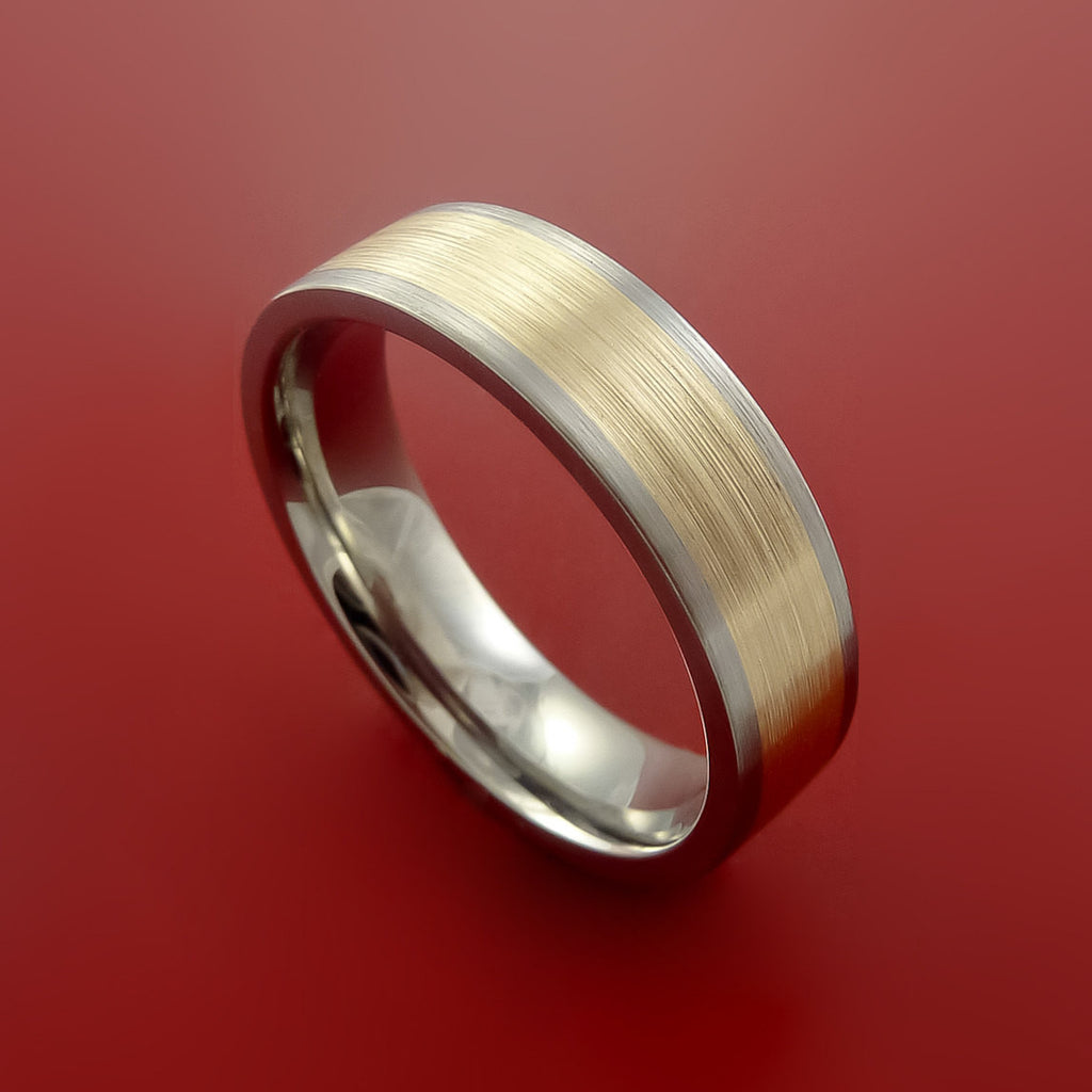 14k Yellow Gold and Titanium Wide Band Any Finish and Size by Stonebrook Jewelry