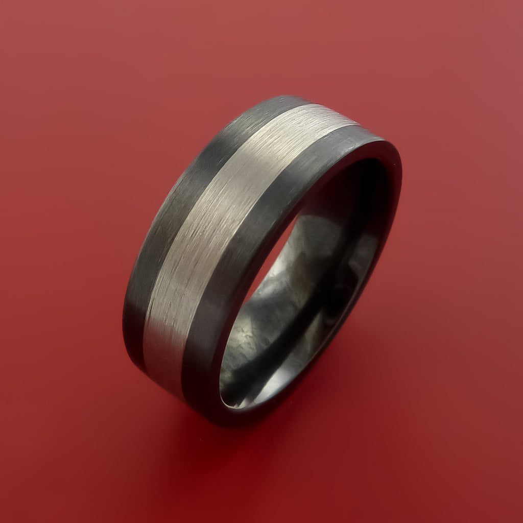 Black Zirconium Band Wide Palladium Inlay Ring Made to Any Sizing by Stonebrook Jewelry