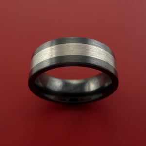 Black Zirconium Band Wide Platinum Inlay Ring Made to Any Sizing