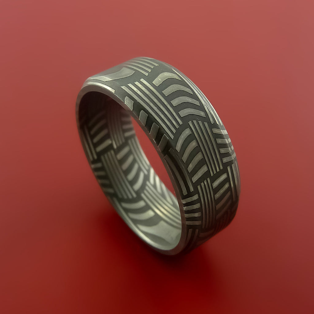 Damascus Steel Ring Basket Weave Pattern Wedding Band by Stonebrook Jewelry