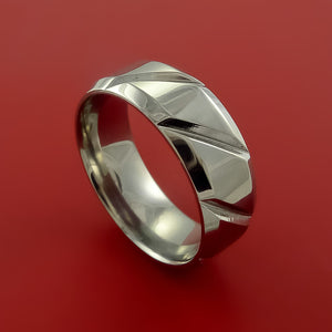 Cobalt Chrome Unique Channel Ring Bright Comfortable Band Made to Any Sizing and Finish