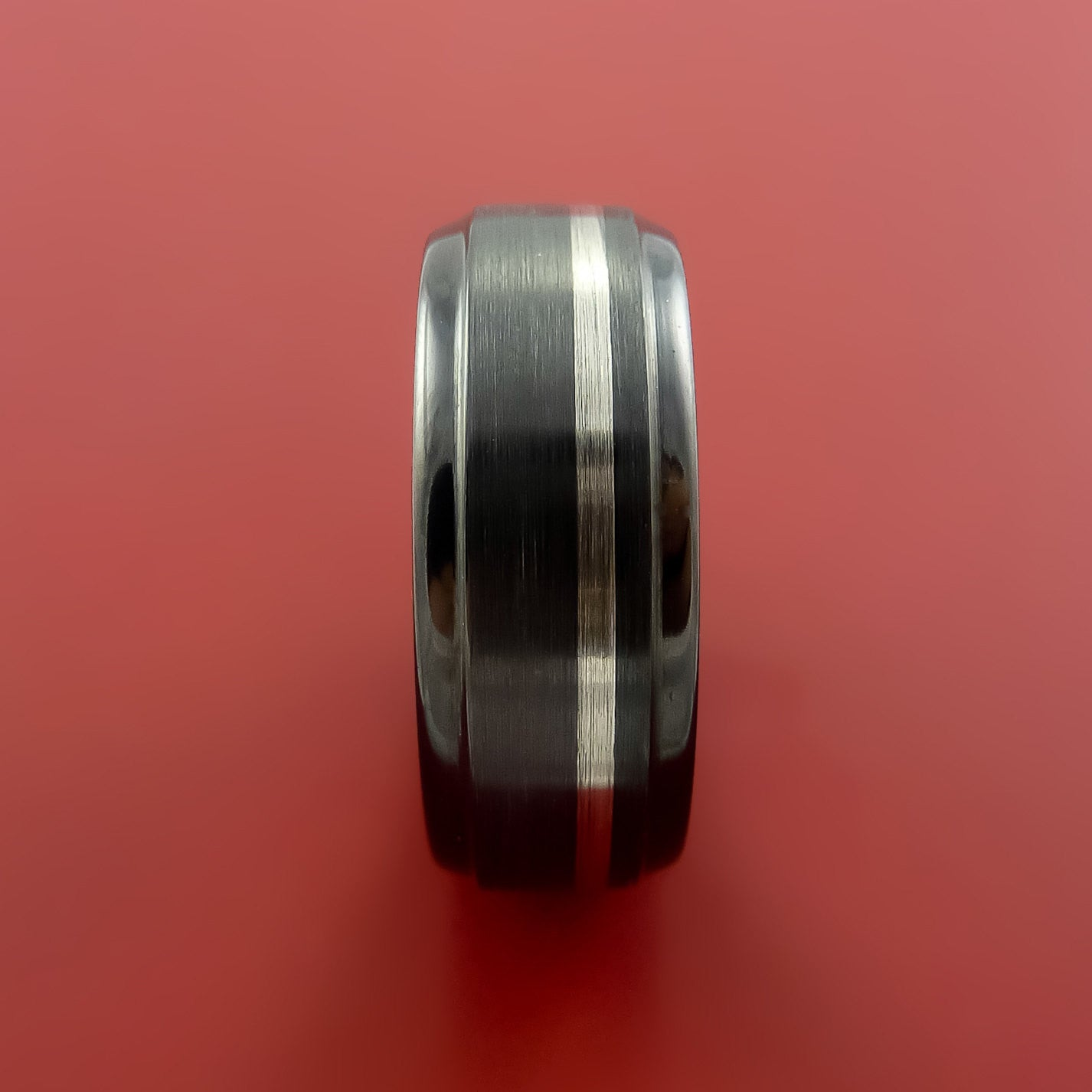 Black Zirconium Band Wide Palladium Inlay Ring Made to Any Sizing ...
