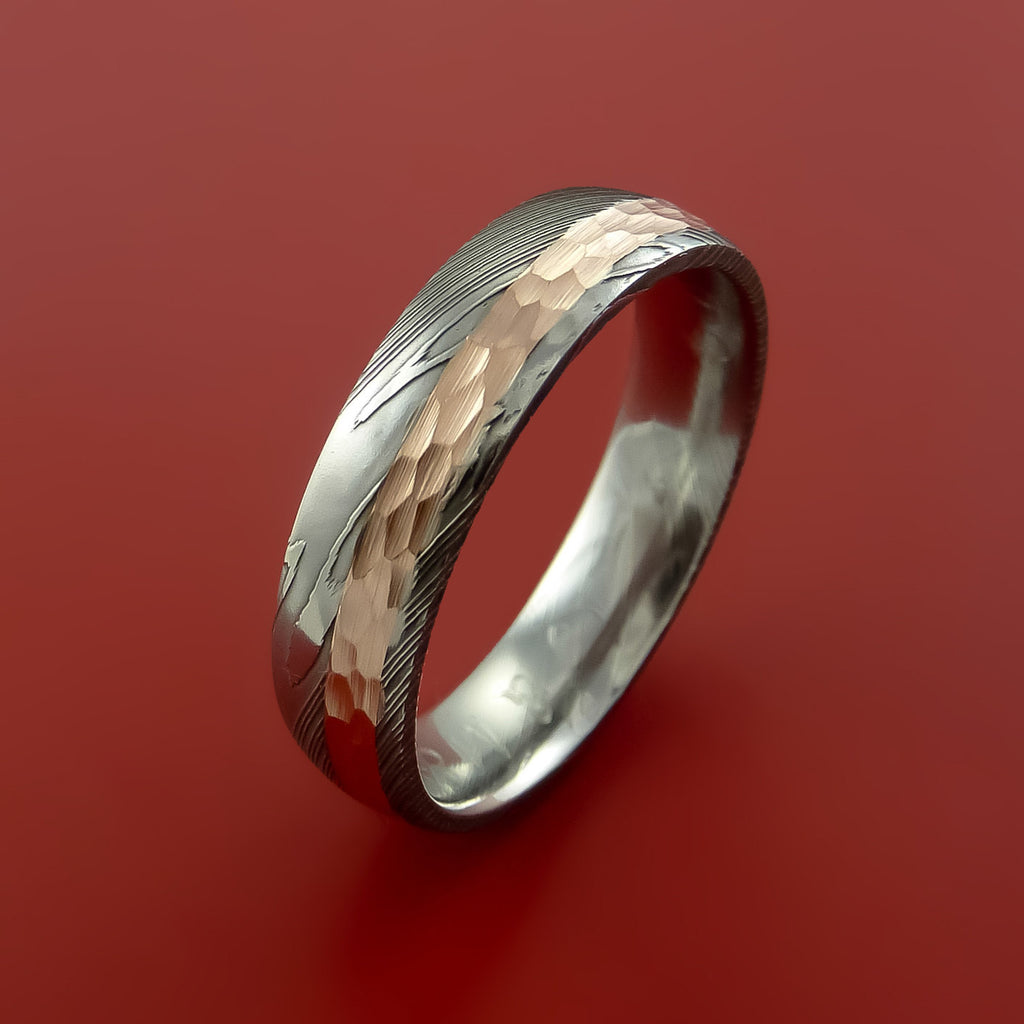 damascus steel 14k rose gold ring wedding band custom made hammer finish by stonebrook jewelry - Custom Made Wedding Rings