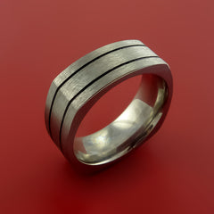 Square Titanium Ring Modern Design Band Custom Made with Comfort Fit - Stonebrook Jewelry  - 4