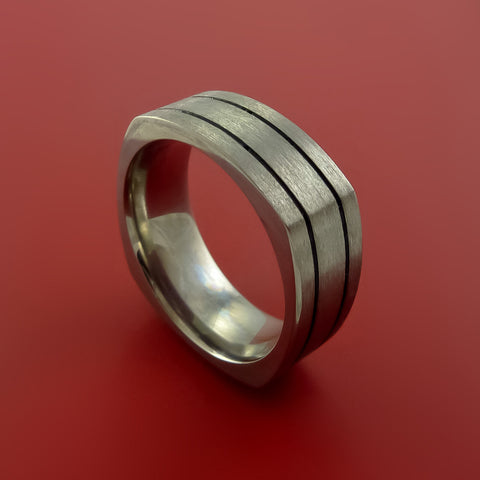 Square Titanium Ring Modern Design Band Custom Made with Comfort Fit