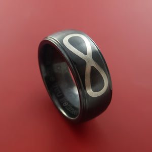 Black Zirconium Ring with 14K White Gold Inlay Custom Made Band