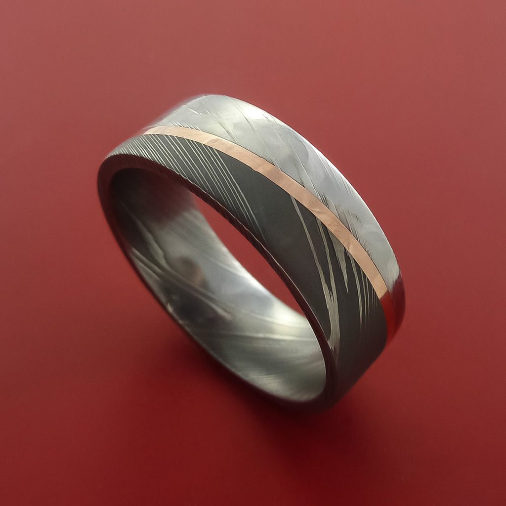Damascus Steel Diagonal 14K Rose Gold Ring Wedding Band Custom Made