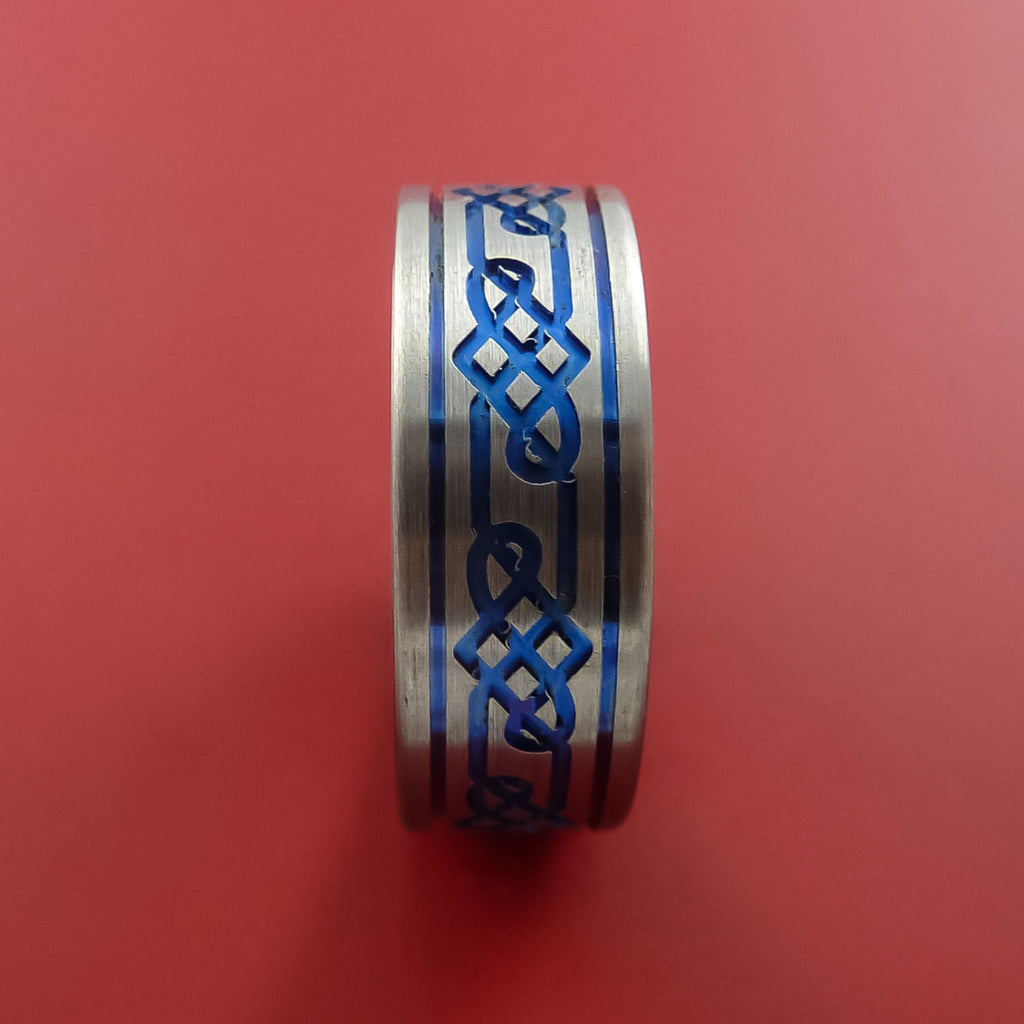 Titanium Celtic Band Infinity Design Ring Any Size 3 to 22 Blue, Red, Green Inlay - Stonebrook Jewelry  - 3