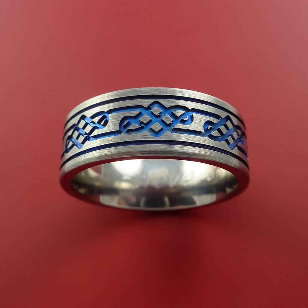 Titanium Celtic Band Infinity Design Ring Any Size 3 to 22 Blue, Red, Green Inlay by Stonebrook Jewelry