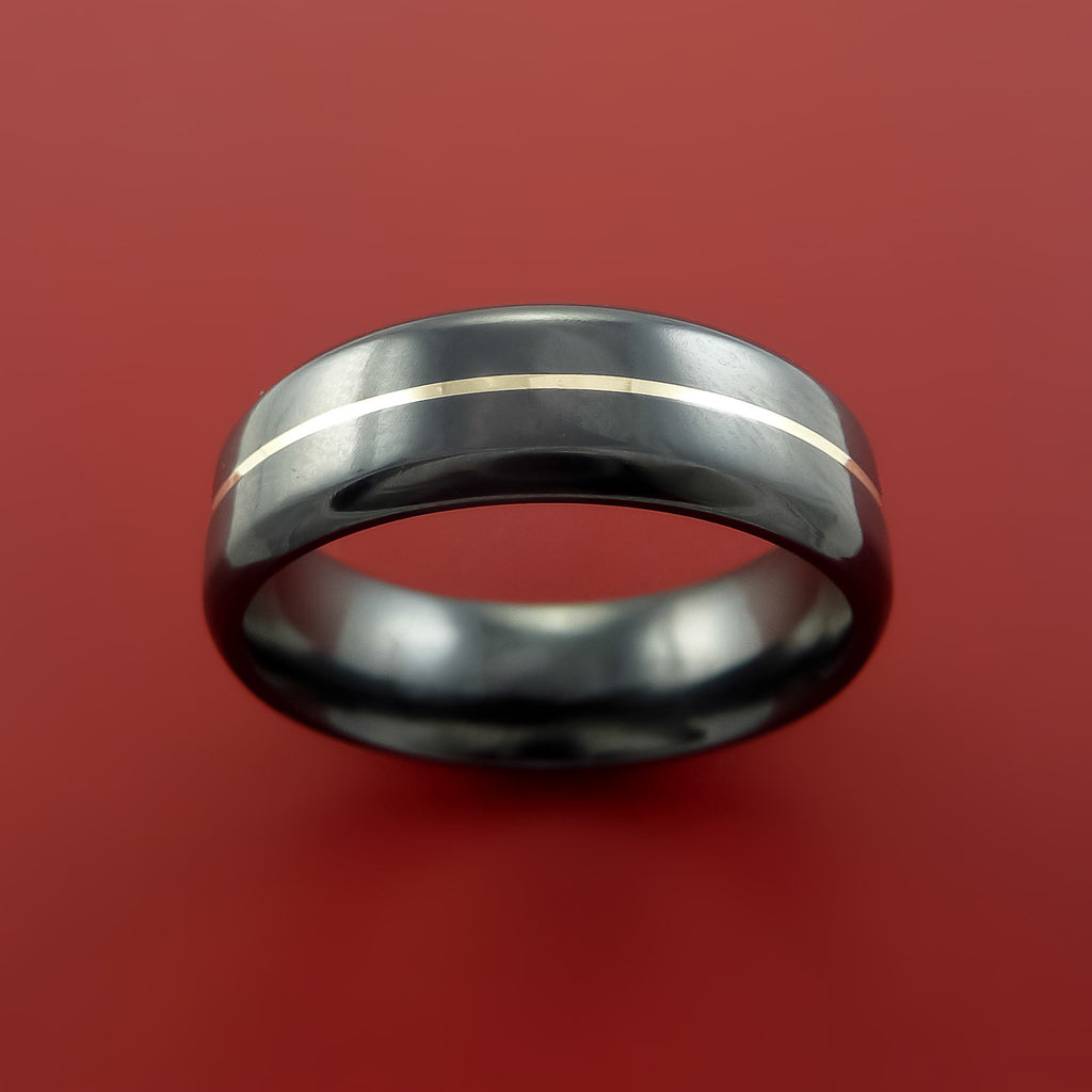 Black Zirconium and 14K White Gold Ring Custom made Band Any Finish and Sizing