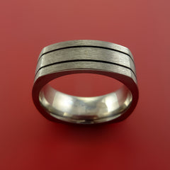 Square Titanium Ring Modern Design Band Custom Made with Comfort Fit - Stonebrook Jewelry  - 2