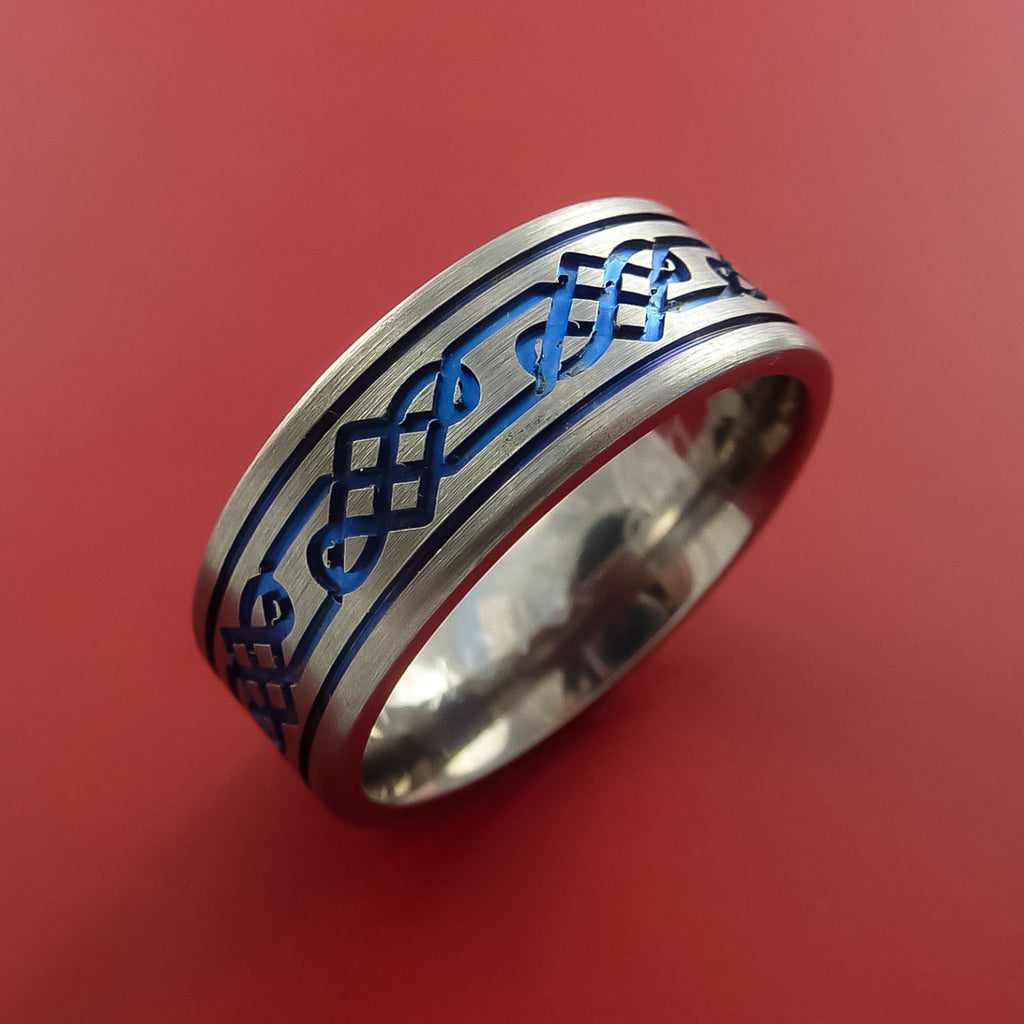 Titanium Celtic Band Infinity Design Ring Any Size 3 to 22 Blue, Red, Green Inlay - Stonebrook Jewelry  - 4