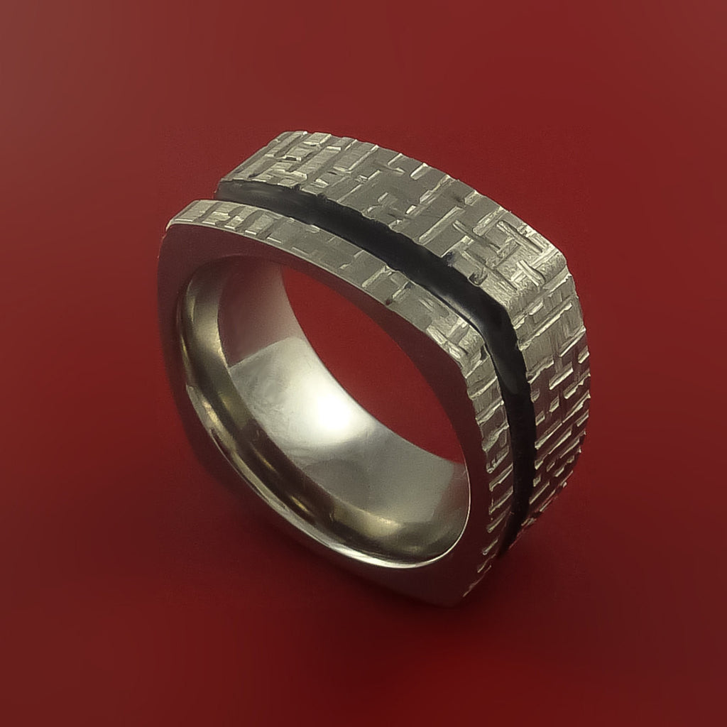 Square Titanium Ring Modern Design Band Custom Made with Comfort Fit Color Inlay by Stonebrook Jewelry