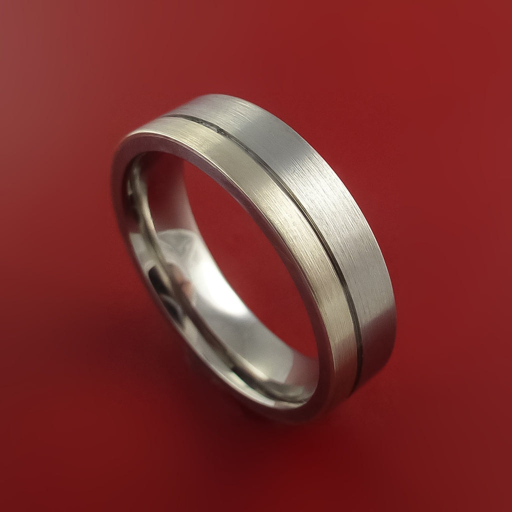 Palladium and Titanium Wedding Ring Custom Made Band Any Finish and Sizing from 3-22 - Stonebrook Jewelry  - 1