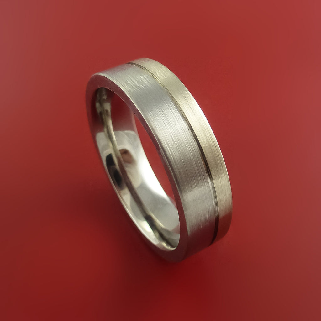 Palladium and Titanium Wedding Ring Custom Made Band Any Finish and Sizing from 3-22 by Stonebrook Jewelry