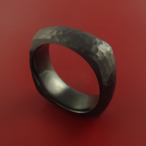 Square Black Zirconium Ring with Hammer Finish Style Modern Band