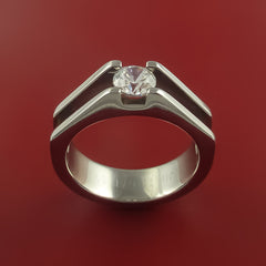 Titanium Ring Tension Setting Band Made to any size with Moissanite - Stonebrook Jewelry  - 3