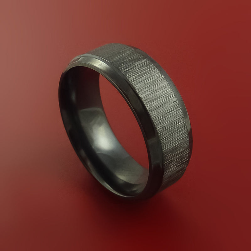 Black Zirconium Ring Traditional Style Band Made