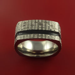 Square Titanium Ring Modern Design Band Custom Made with Comfort Fit Color Inlay - Stonebrook Jewelry  - 3